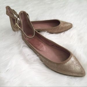 Joie Temple Metallic Ankle Strap Pointed Toe Flats